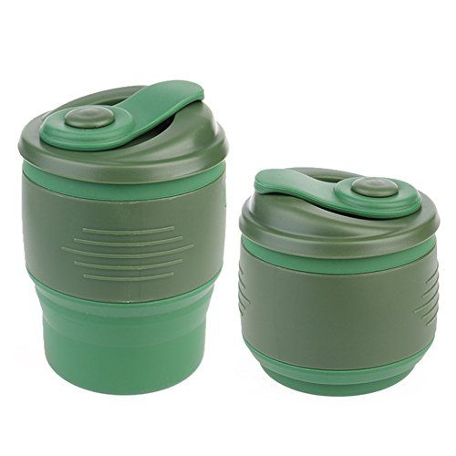 Collapsible Coffee Cup Anteer Foldable Silicone Mug with Leak Proof Lip Reusable Travel Water Bottle 350ml118 fl oz for Home Outdoor Camping Backpacking Hiking School Office army green ** You can get additional details at the image link.
