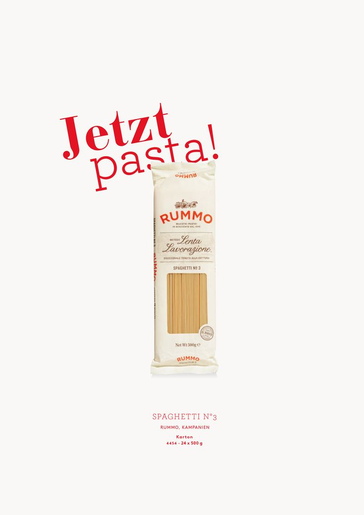 Jetzt Pasta!   Spaghetti N°3. Hartweizengrießnudeln. Rummo, Italien.   Diese Spaghetti gelingen immer. Ihre Konsistenz bleibt bissfest, dank einer speziellen Verfahrenstechnik bei der Herstellung. Auch nach dem Wiederaufwärmen. Ideal für die Gastronomie. Kochzeit 10 Minuten.