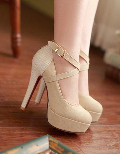 Zapatos Tacon Alto Beige