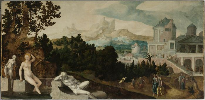 Ян ван Скорел (Jan van Scorel) (1495 - 1562) — Пейзаж с Вирсавией (ок.1540?, Rijksmuseum, Amsterdam)