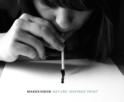 nature inspired print diy straw 'painting' | via Design For Mankind