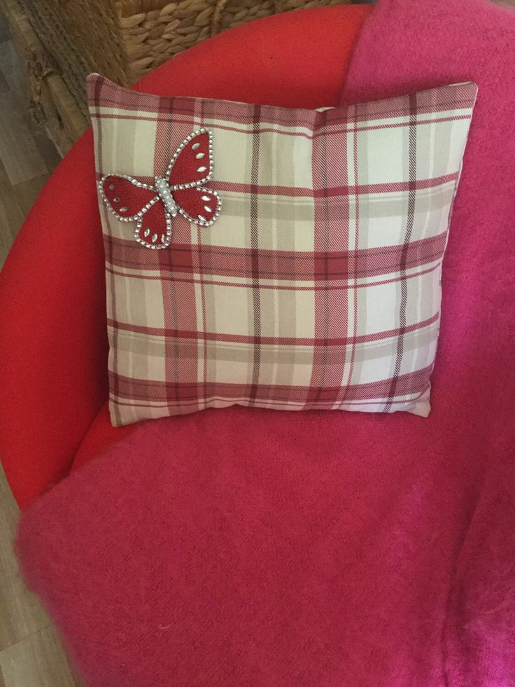 Handmade red and cream check cushion, with butterfly adornment. by HandmadebyCeeCee on Etsy https://www.etsy.com/uk/listing/510013356/handmade-red-and-cream-check-cushion