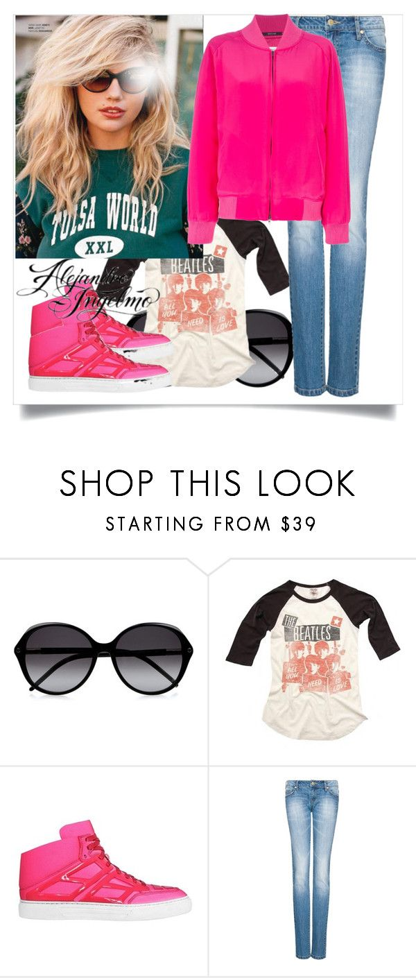 """All You Need is Love and Alejandro Ingelmo"" by eclectic-ave82 ❤ liked on Polyvore featuring Chloé, Junk Food Clothing, Alejandro Ingelmo, MANGO, Maison Margiela, junk food, tron sneakers, sunglasses, bomber jacket and neon colors"