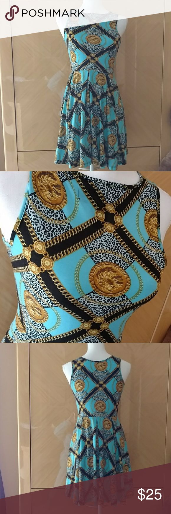 Kardashian Kollection coin dress XS Kardashian Kollection turquoise dress with gold coin designs. Stretchy. Size XS Kardashian Kollection Dresses Mini