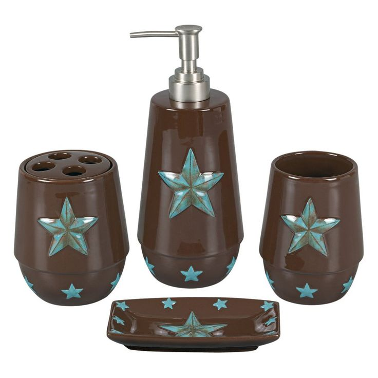 HiEnd Accents 4 Piece Star Bathroom Accessories Set - BA2010-OS-TQ