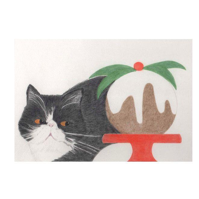 Cat Christmas Card - Exotic Persian Christmas Card by BlackCatStudioArt on Etsy https://www.etsy.com/listing/169315225/cat-christmas-card-exotic-persian