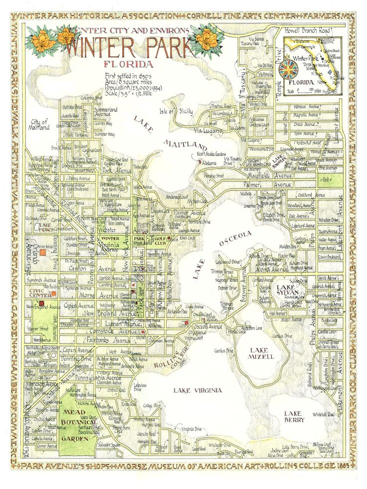 Winter Park, Florida Map 12x16 print from original drawing. $25.00, via Etsy.