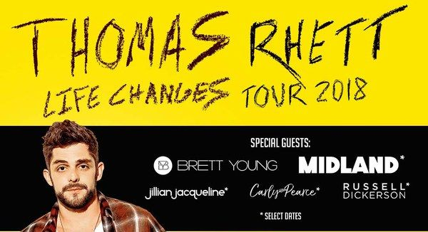 Thomas Rhett Announces 2018 Life Changes Tour Dates with Russell Dickerson, Carly Pearce and Midland