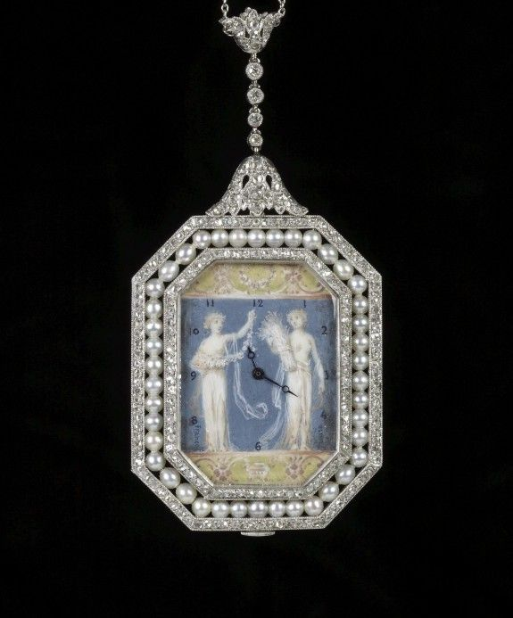 Watch Pendant Painting-Marcus & Co. (Artist)  Fernand Paillet (French, 1919) (Artist)  MEDIUM  platinum, seed pearls, diamonds