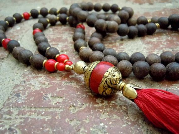 108 Bead Agarwood Mala / Yoga Necklace / Aromatic by Syrena56