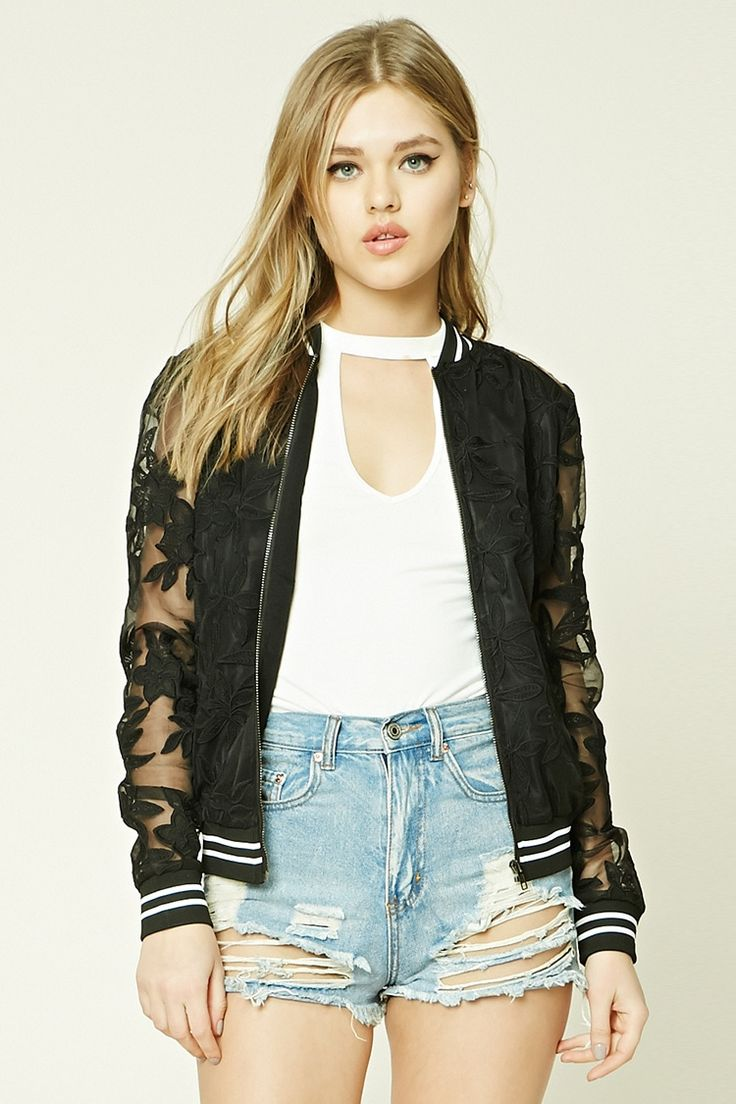 A semi-sheer bomber jacket featuring an embroidered lace design, striped ribbed trim, a zip-up front, and long sleeves.