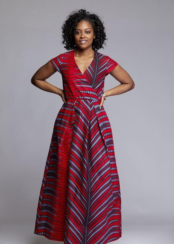 5dcac38457d D IYANU Hadiya African Print Faux Wrap Maxi Dress (Red Grey) Plus ...