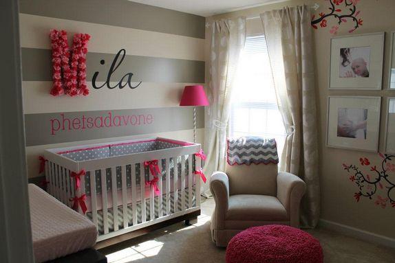 Babaszoba szürke-pink árnyalatban