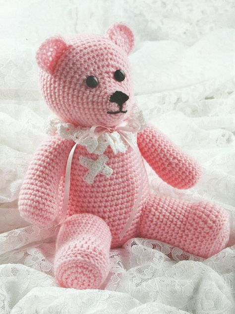 crochet bear toy by sheila leslie INTERMEDIATE 11 inches high sitting Materials Red Heart Super Saver medium (worsted) weight yarn (7 oz/364 yds/198g per skein : 1 skein #373 petal pink 10 yds #312 black Circulo Anne super fine )fingering) weight cotton yarn (5 oz/547 yds/147g per ball: 1 ball #8001 white Sizes E/4/3.5mm and […]