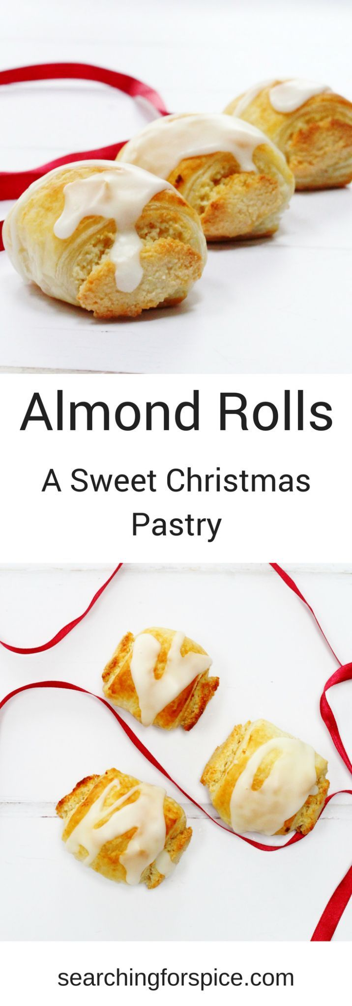 Almond rolls recipe. These sweet Christmas pastries are easy to make with ready rolled puff pastry wrapped around homemade almond paste or marzipan. The perfect Christmas pastry #Almondpastry #almondpaste #puffpastry #Christmas #Baking