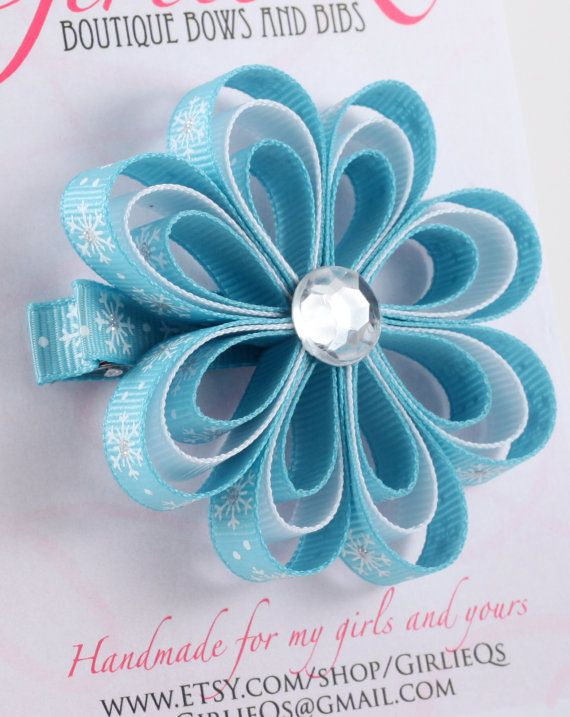 Snowflake Flower Winter Hair Clip  Ice Blue with by GirlieQs, $6.00