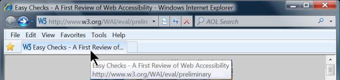 Draft of W3C Web Accessibility Initiative's Easy Checks - A First Review of Web Accessibility
