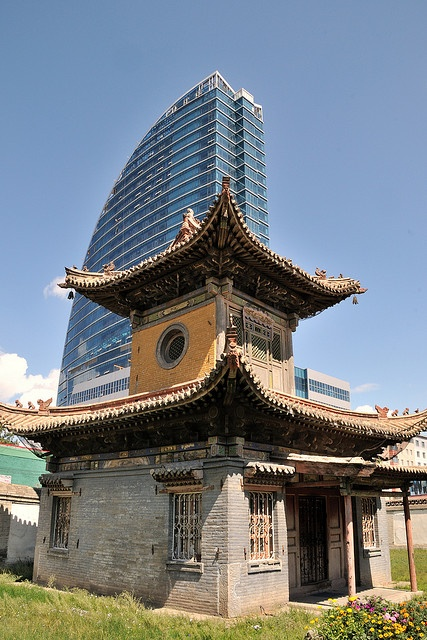 Ulaanbaatar, Choijin Lama Temple. The monastery is now surrounded by glass and steel office buildings.