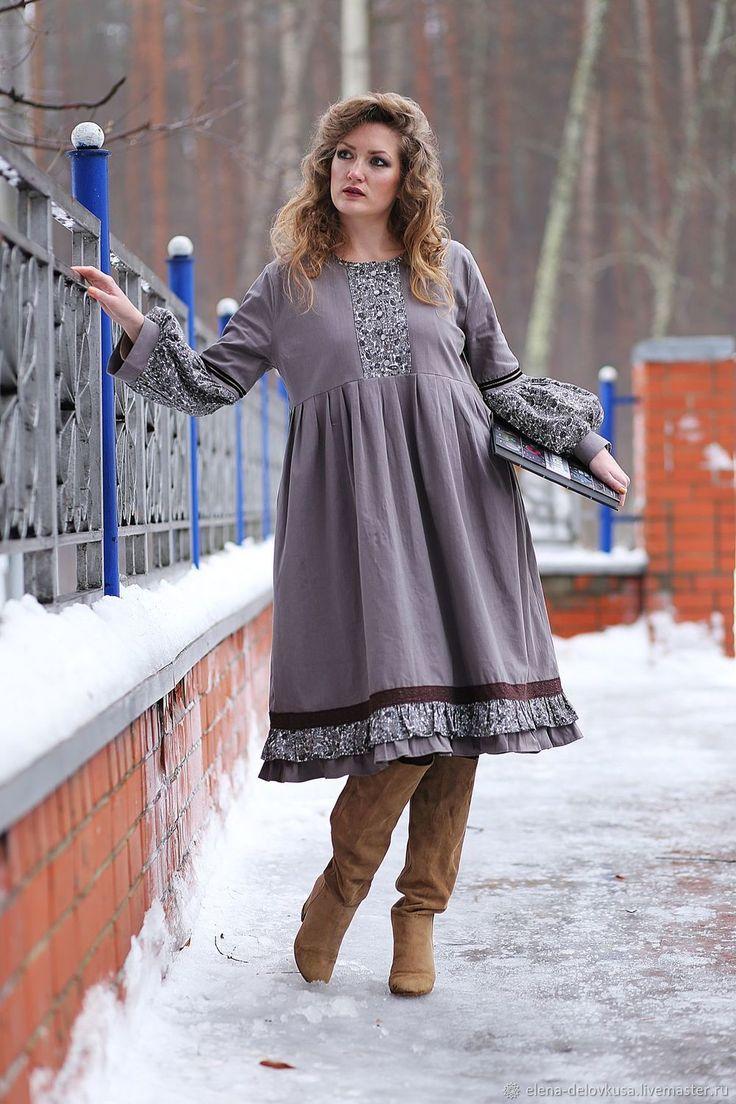 """Платье бохо """"Серая шейка"""" – купить в интернет-магазине на Ярмарке Мастеров с доставкой"""