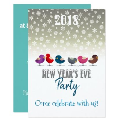 Birds New Year's Eve Party Cartoon Cute Colorful Card - diy cyo personalize design idea new special custom
