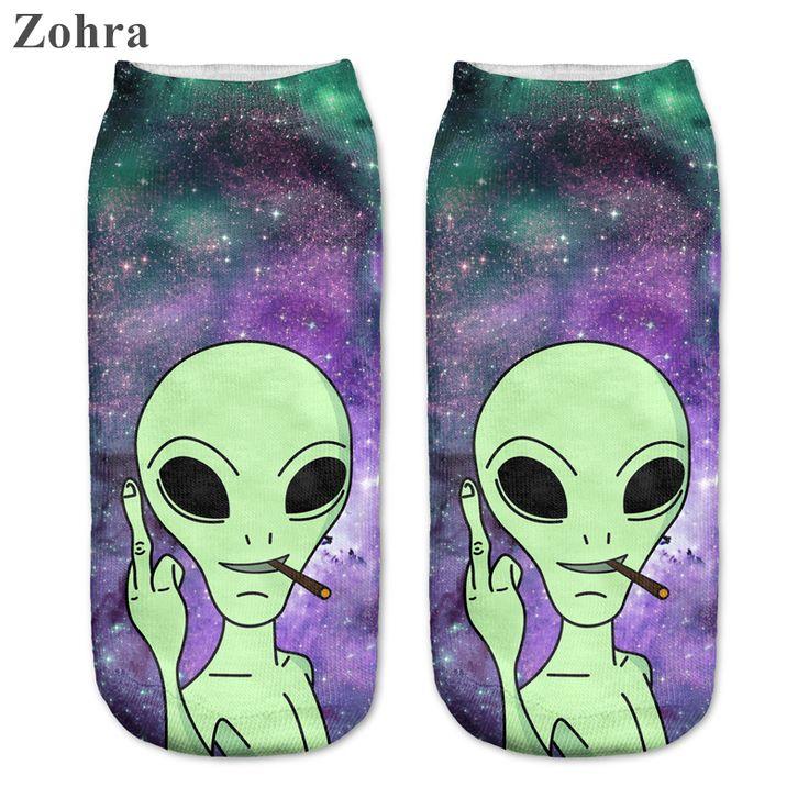 Zohra 2016 New arrival  Women's Girls Low Cut Ankle Socks Funny Aliens 3D Printing sock Cotton Hosiery Printed Sock *** Smotrite etot zamechatel'nyy produkt.