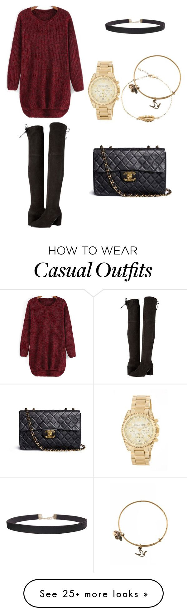 """""""Casual slay"""" by eloramcc on Polyvore featuring Stuart Weitzman, MICHAEL Michael Kors, Humble Chic, Alex and Ani and Chanel"""