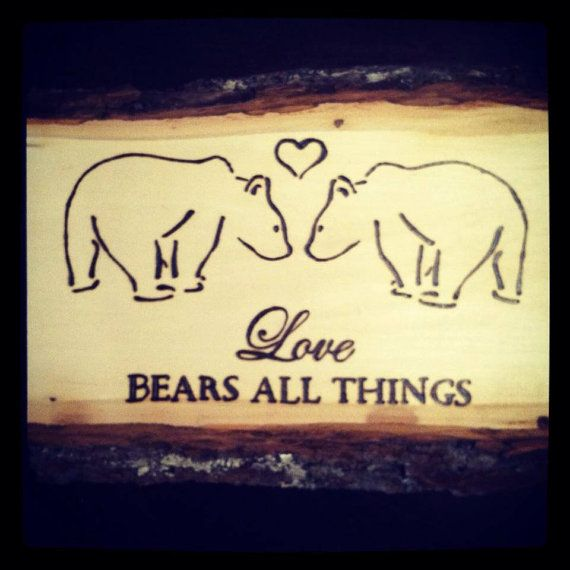 Wood Burned Love Bears All Things Rustic by OCRusticCustoms, $22.00