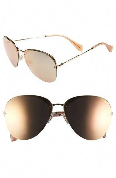 71ddc56cdd8 Miu Miu 60mm Semi Rimless Aviator Sunglasses  MiuMiu