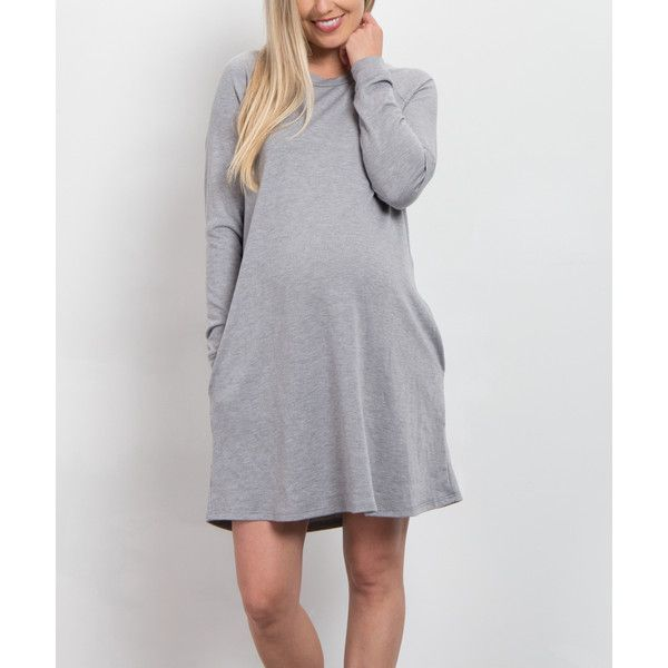 PinkBlush Maternity Heather Gray Solid Maternity Sweater Dress ($35) ❤ liked on Polyvore featuring maternity