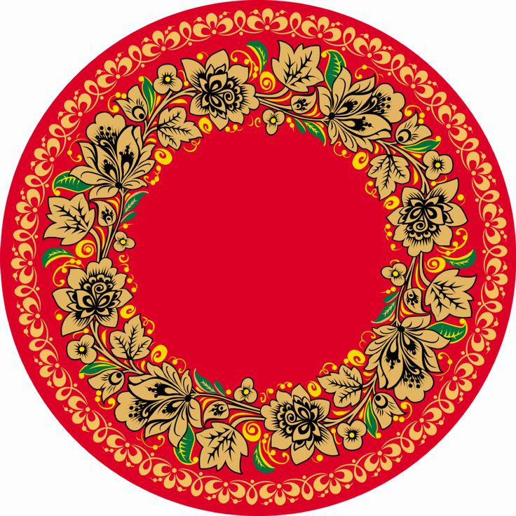 Folk Khokhloma painting from Russia. A round floral pattern in red, green, black and golden colours. #art #folk #painting #Russian
