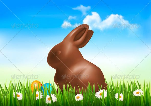 Holiday Easter Background with Chocolate Bunny