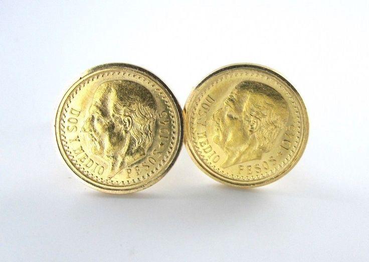 18KT YELLOW GOLD COINS CUFFLINKS VINTAGE DOS PESOS MEXICANOS CUFF LINKS MEN 1945