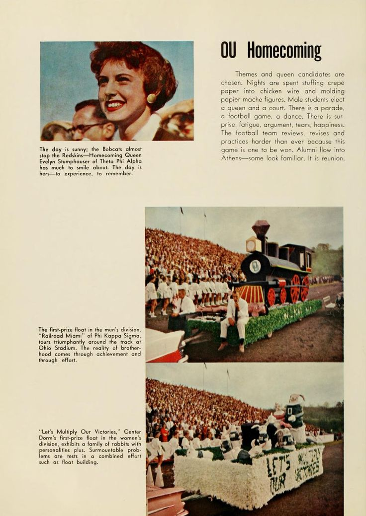Athena Yearbook, 1959. Ohio University Homecoming, Homecoming Queen Evelyn Stumphauser, th first place prize float in the men's division, 'Railroad Miami' of Phi Kappa Sigma, 'Lets mulitply our victories', Center Dorm's  first- prize float in the women's division, Fall 1958, Ohio University Archives