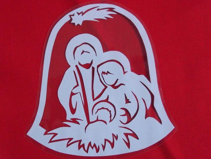 Vánoční vystřihovánka do okna - Jesličky Papírová vystřihovánka zatavená ve folii - pro opakované použití. Velikost vystřihovánky (i s folií) 17,5 x 17 cm