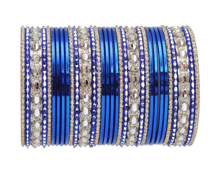 Blue and golden bangle set