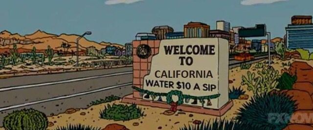 Drought Satire  Horatian Satire because it is stating that the  CA drought results in expensive water in a humorous way. It is exaggerating the expense of water saying its $10 per sip when it's really not.