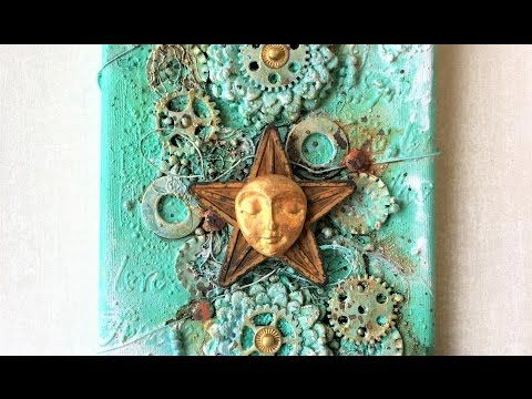 "Mixed media canvas ""Star"" - process video - YouTube"