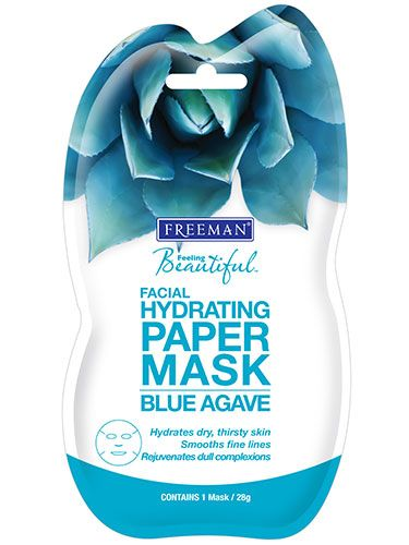 Freeman Beauty Blue Agave Hydrating Facial Paper Mask  Freeman Beauty Blue Agave Hydrating Facial Paper Mask Paper masks are big-time players among prestige brands, and now this bargain option is trending, too. Wear the mask – which contains agave to soften and hyaluronic acid to hydrate – for 10 to 20 minutes; then pat the excess serum into skin for a quick hydration boost.    Read more: Best Beauty Products from the Drugstore - Best Drugstore Beauty Products for Fall - Good Housekeeping