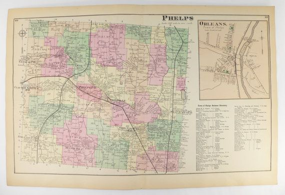 1874 Phelps NY Map, Antique Map Phelps New York, Orleans NY Map, Oaks Corners NY Unionville ny, Phelps Gift for Couple, Historical Map available from OldMapsandPrints.Etsy.com #PhelpsNY #Antique1874MapofPhelpsNY #OriginalHandcoloredMapofPhelpsNY
