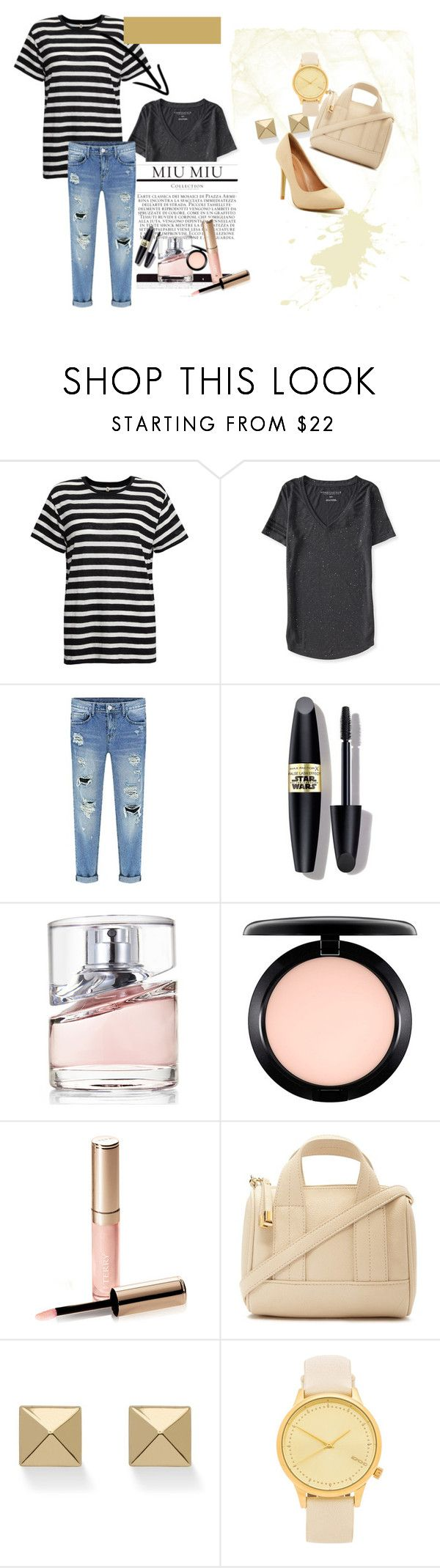 """""""stripe 5"""" by ajriyaf on Polyvore featuring R13, Aéropostale, Max Factor, BOSS Hugo Boss, MAC Cosmetics, By Terry, Forever 21, Palm Beach Jewelry, Komono and Top Guy"""