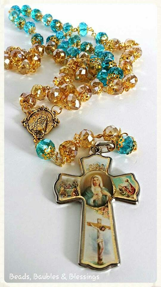 Rosary - Our Mother Mary Like us on Facebook;  Beads, Baubles & Blessings Etsy shop;  beadsbaublesblessing