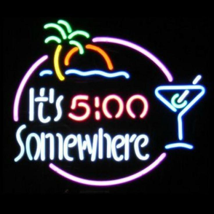 It's 5:00 Somewhere Neon Bar Sign | Neon signs, Neon bar