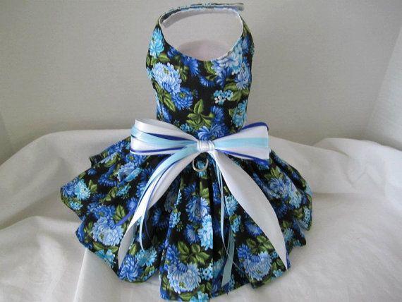 Dog Dress XS Blue flower By Nina's by NinasCoutureCloset