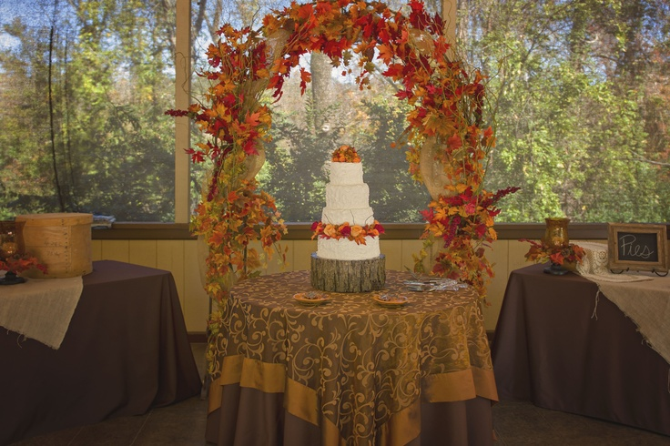 Cake table outdoor fall wedding reception decor