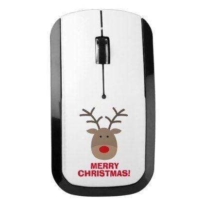 #Funny Christmas reindeer custom computer mouse - #cute #gifts #cool #giftideas #custom