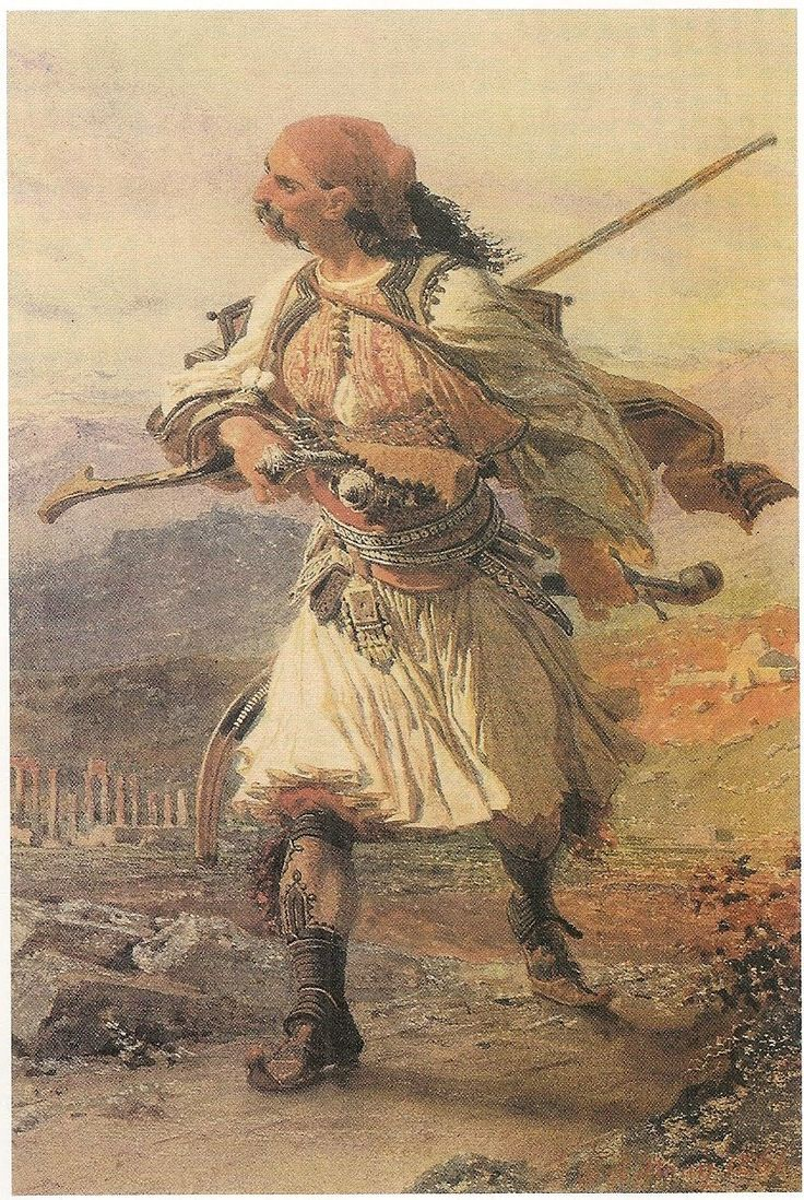 Water-colour painting of an armatolos by Carl Haag. Armatoloi were Christian Greek irregular soldiers, or militia, commissioned by the Ottomans to enforce the Sultan's authority within an administrative district called an Armatoliki. Armatolikia were created in areas of Greece that had high levels of brigandage (klephts), or in regions that were difficult to govern due to inaccessible terrain.