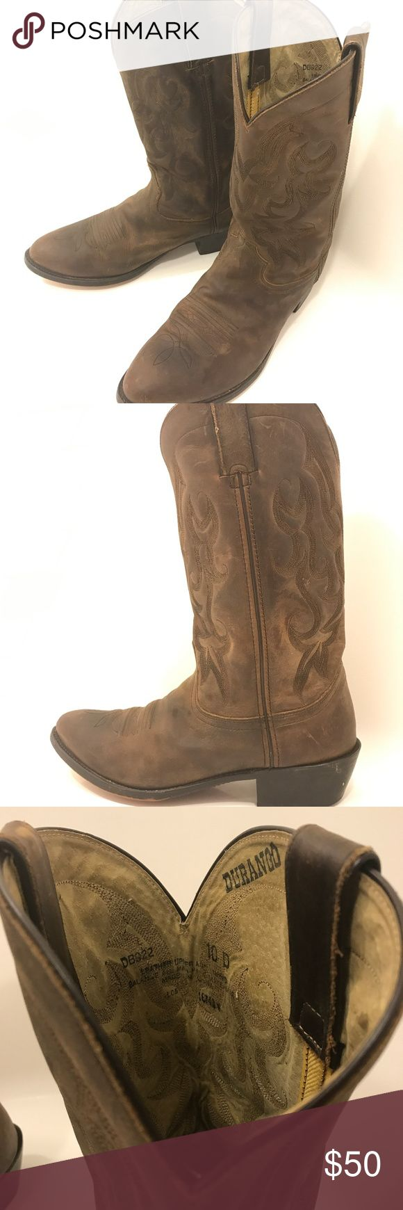 """Durango Men's Cowboy Boots Brown Leather Size 10 D Durango Men's Western Cowboy Boots are the perfect finishing touch to that rustic look and for everyday use. The authentic leather shouts """"Quality"""" to all who wear and admire these boots. The pointed toe and embellished outer patterns give these boots a stylish edge to allow you to feel upper class during the toughest of jobs. Size: 10D, Brand: Durango, Materials: Leather upper & man made materials, Color: Brown, Features: Pointed toe…"""