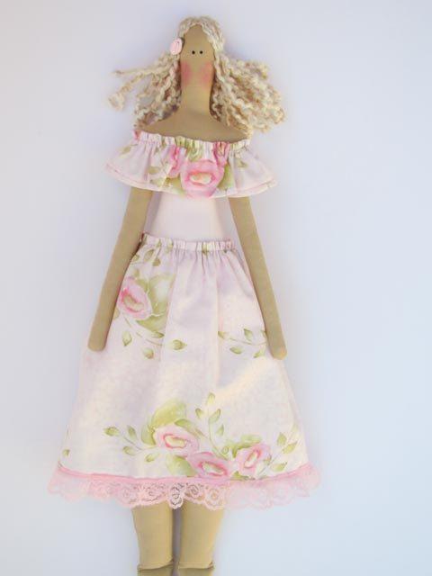 Fabric doll cloth doll pastel pink rose art by HappyDollsByLesya