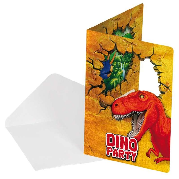 Dinosaurus Uitnodigingen - 6 stuks.