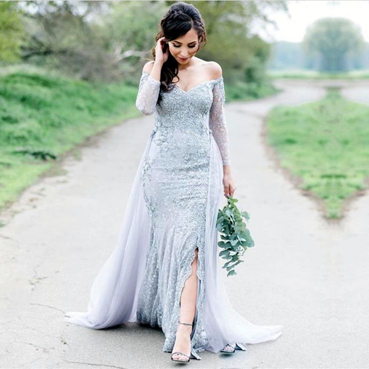 Long Sleeves Prom Dress,Lace Evening Dresses,Mermaid Evening Gowns,Silver Evening Dress,Off Shoulder Dress,Lace Prom Dresses,Mermaid Prom Dress